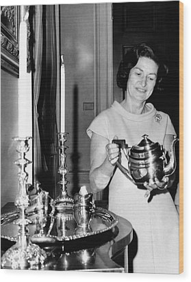 Lady Bird Johnson Holds A Silver Teapot Wood Print by Everett