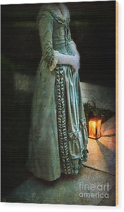 Lady By Lantern Light Wood Print by Jill Battaglia