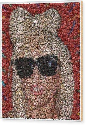 Lady Ga Ga Bottle Cap Mosaic Wood Print by Paul Van Scott