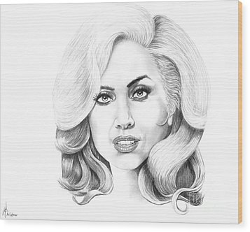 Lady Gaga Wood Print by Murphy Elliott
