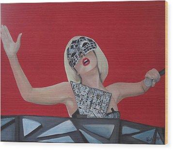 Lady Gaga Poker Face Wood Print by Kristin Wetzel