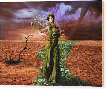 Lady Gaia Wood Print by Julie L Hoddinott