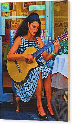Lady Guitar Wood Print by Peter  McIntosh