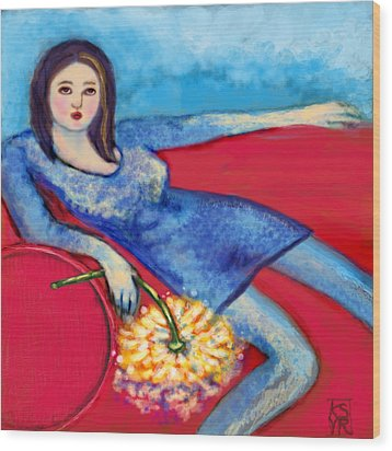 Lady In Blue Wood Print by Kimberly Van Rossum