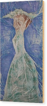Wood Print featuring the mixed media Lady In Green by Angela Stout