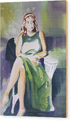 Wood Print featuring the painting Lady In Green by Richard Willows