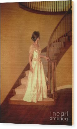 Lady In Lace Gown On Staircase Wood Print by Jill Battaglia