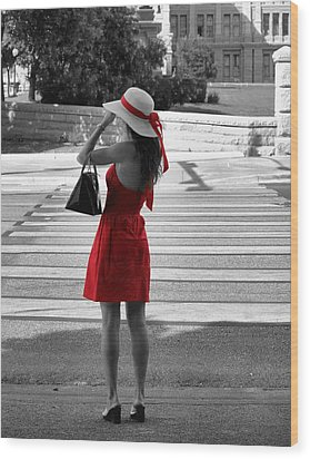 Lady In Red With Color Splash Wood Print