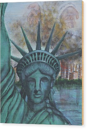 Lady Liberty Cries Wood Print