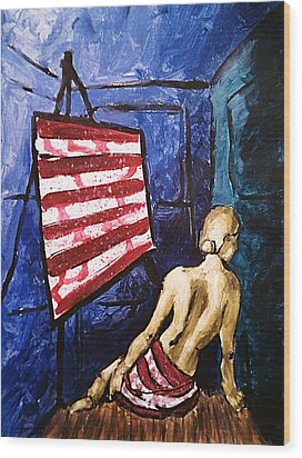 Wood Print featuring the painting Lady Liberty Female Flag Figure Painting In Red Green Blue And Yellow by M Zimmerman