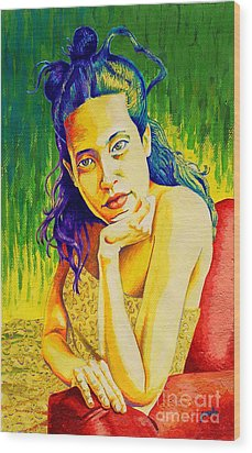Lady N Colour Wood Print by Jose Miguel Barrionuevo