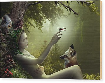 Lady Of The Forest Wood Print by Julie L Hoddinott