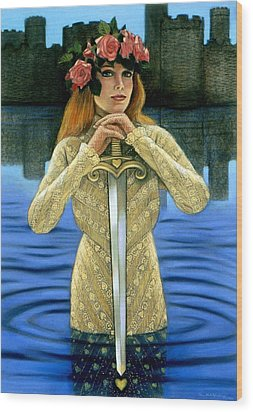 Wood Print featuring the painting Lady Of The Lake by Sue Halstenberg