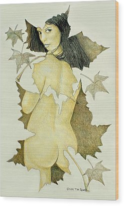 Wood Print featuring the photograph Lady Of The Leaf 4 by Tim Ernst