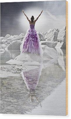 Lady On The Rocks Wood Print by Joana Kruse