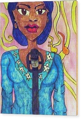 Lady Singer Wood Print