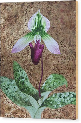 Lady Slipper Orchid With Gold Leaf Background Wood Print by Kerri Ligatich