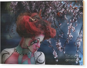 Wood Print featuring the digital art Lady Spring Silence by Rosa Cobos