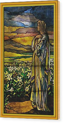Lady Stained Glass Window Wood Print by Thomas Woolworth