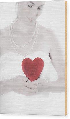 Lady With A Heart Wood Print by Joana Kruse