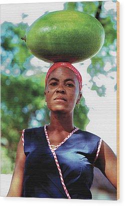 Lady With Calbace On Head Wood Print