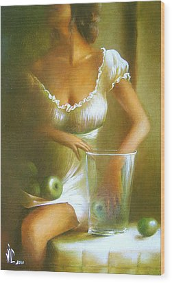 Lady With Green Apples Wood Print