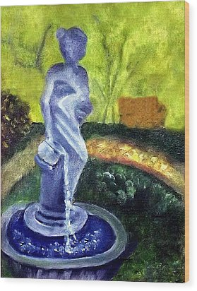Wood Print featuring the painting Lady With The Water Statute by Margaret Harmon