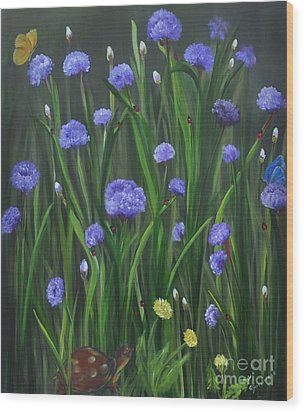 Wood Print featuring the painting Ladybug Lunch by Carol Sweetwood