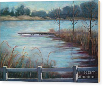 Wood Print featuring the painting Lake Acworth Dock by Gretchen Allen