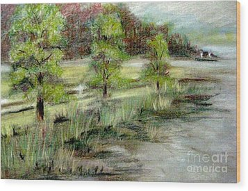 Wood Print featuring the pastel Lake Acworth Fisherman by Gretchen Allen