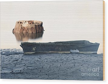 Lake Bottom Boat Wood Print by Ronald Hoggard