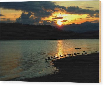Wood Print featuring the photograph Lake Coeur D'alene Sunset Reflections by Cindy Wright