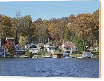 Lake Hopatcong Scene 3 Wood Print by Maureen E Ritter
