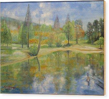 Lake In Springtime. Wood Print by Max Mckenzie