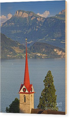 Lake Lucerne Wood Print by Brian Jannsen