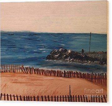 Lake Michigan Blues Wood Print by Ayasha Loya