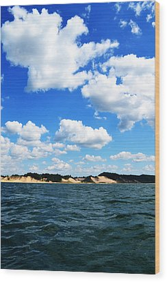 Lake Michigan Shore With Clouds Wood Print by Michelle Calkins