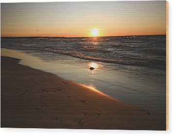 Wood Print featuring the photograph Lake Michigan Sunset by Patrice Zinck