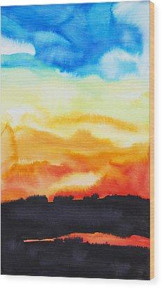 Lake Of Fire Wood Print by Tara Thelen