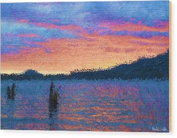 Lake Quinault Sunset - Impressionism Wood Print by Heidi Smith