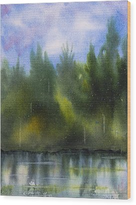Lake Reflecting Trees Wood Print by Debbie Homewood