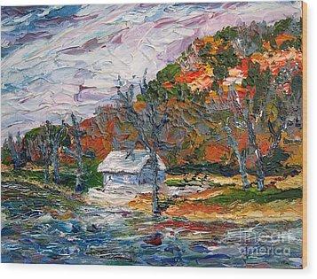 Lake Side  Wood Print by Linda  Steine