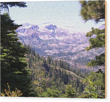 Lake Tahoe Mountains Wood Print by Anne Raczkowski