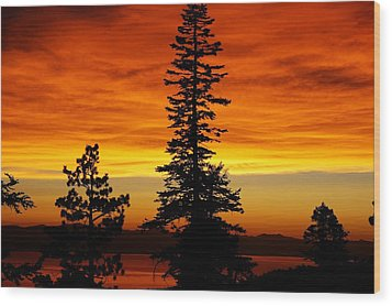 Lake Tahoe Sunset Wood Print by Bruce Friedman