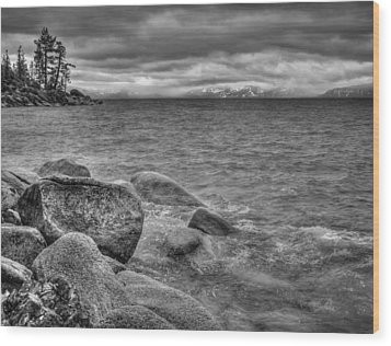 Lake Tahoe Winter Storm Wood Print by Scott McGuire