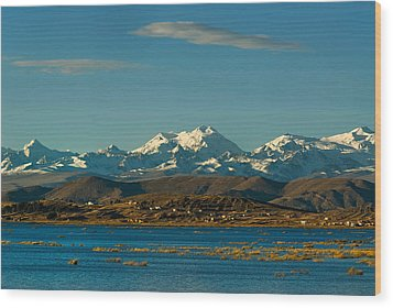Lake Titicaca And The Cordillera Real In The Background.republic Of Bolivia. Wood Print by Eric Bauer