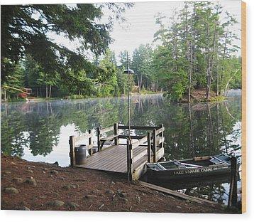 lake Vanare dock Wood Print by Lali Partsvania
