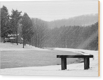 Wood Print featuring the photograph Lakeside Bench by Michelle Joseph-Long