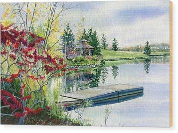 Lakeside Gazebo Wood Print by Hanne Lore Koehler