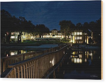 Lakeside Inn At Night Wood Print by Christopher Holmes